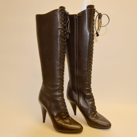 PRADA Brown Leather Lace Up Stiletto Boots (New)