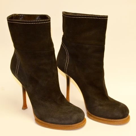 Gianmarco Lorenzi Black Suede Ankle Boots (Used)