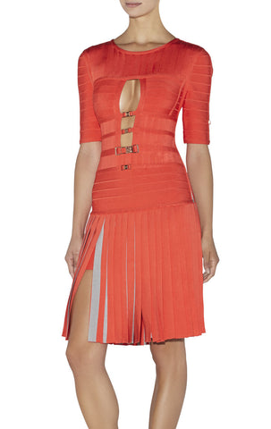 "HERVE LEGER ""Cecile"" Contrast-Detail Pleated Bandage Dress - Size Small"
