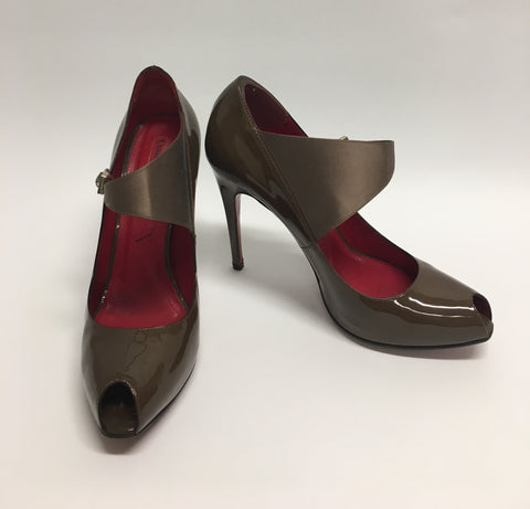 CESARE PACIOTTI Olive Patent Leather Peep-Toe Stilettos with Wide Satin Ankle Strap (Used)
