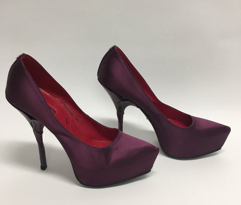 CESARE PACIOTTI Purple Satin Platform Stiletto Pumps with Purple Snakeskin Heels (New)