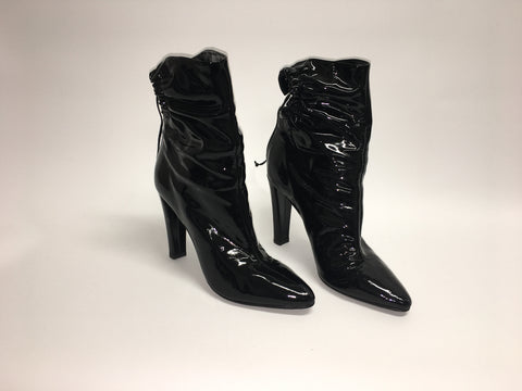 JEROME ROUSSEAU Black Patent Leather High Heeled Boots with Lace-Up Backs (New)
