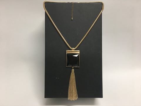 Costume Jewelry - Gold Necklace with Large Black Stone