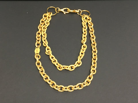 Costume Jewelry - Yellow Gold Double Chainlink Necklace