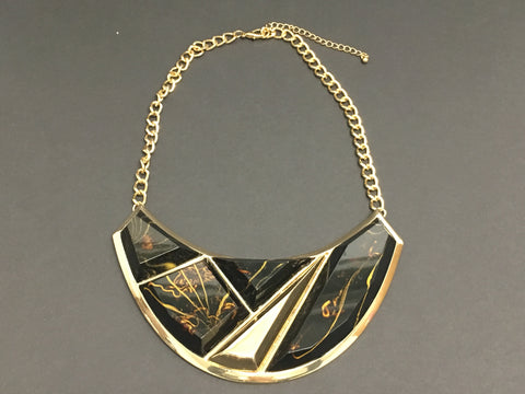 Costume Jewelry - Gold Bib Necklace with Large Geometric Inlaid Stones - Brown with Gold Accents