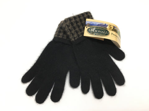 McDONALD Houndstooth Possum Merino Gloves (New)