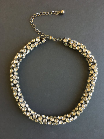 Costume Jewelry - Pewter Grey Crystal Rope Necklace