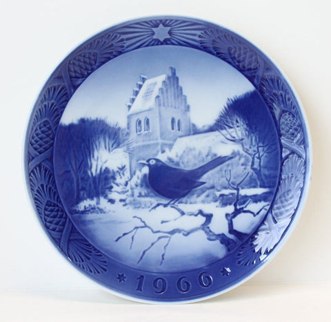 "1966 Royal Copenhagen Limited Edition Christmas Plate - ""Blackbird at Christmas Time"""