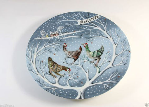 "Vintage Haviland Limoges France 12 Days of Christmas Plate ""Three French Hens"" Noël 1972 Signed"
