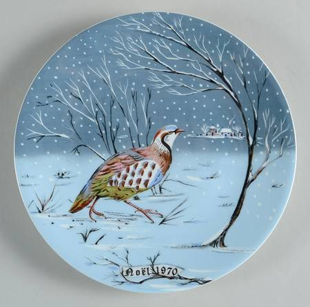 "Vintage Haviland Limoges France 12 Days of Christmas Plate ""Partridge In A Pear Tree"" Noël 1970 Signed"