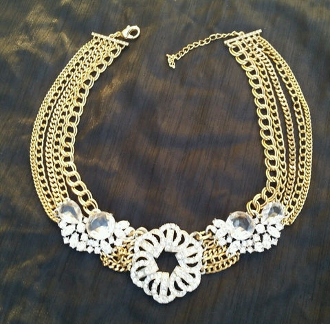 Costume Jewelry - ABS Crystal Gold and Silver Statement Necklace