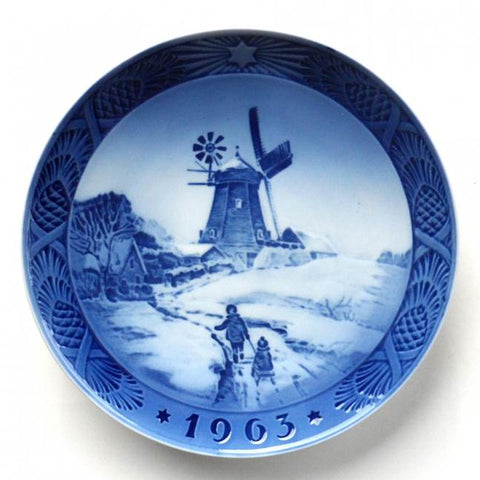 "1963 Royal Copenhagen Limited Edition Christmas Plate - ""Windmill"""