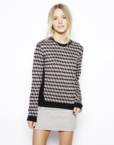 LOVE ZOOEY Long Sleeve Crew Neck Sweater with Geo Jacquard Knit - Medium