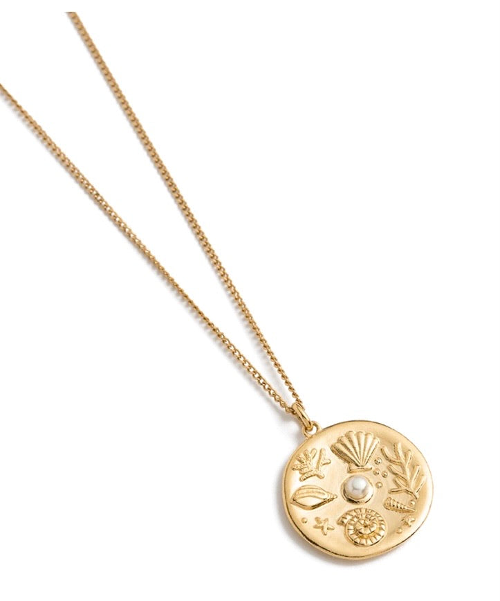 By the Sea Coin Necklace - 18K Gold Vermeil