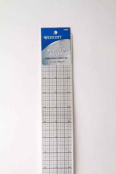 WESCOTT 8THS GRAPH BEVELED RULER