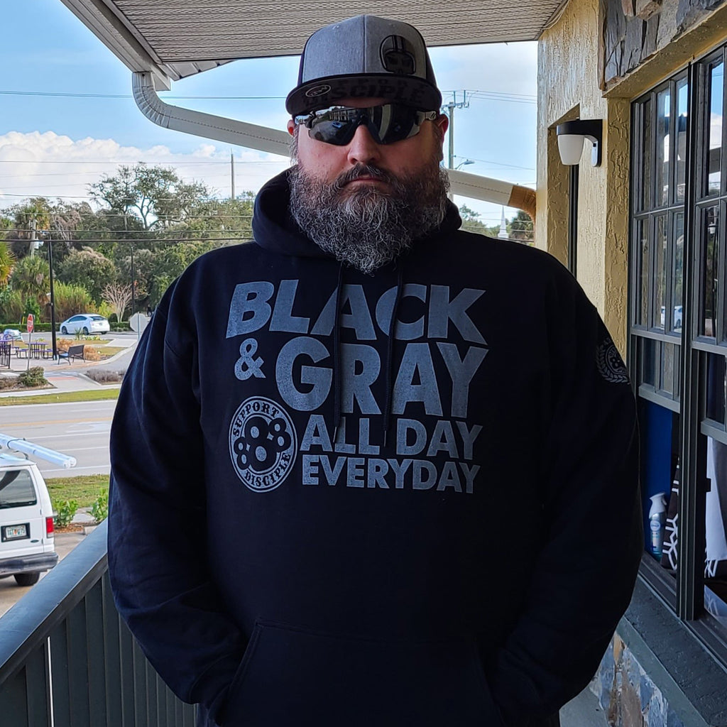 Black and Gray All Day Every Day - Hoodie