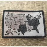 US Map Biker Flag Patch Black & Gray