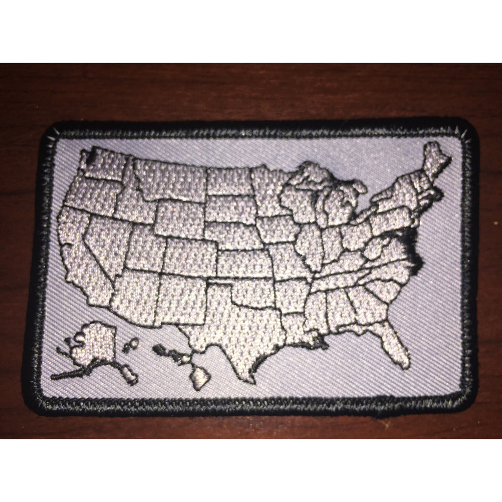 US Map Biker Flag Patch Black Gray Disciple Christian Motorcycle