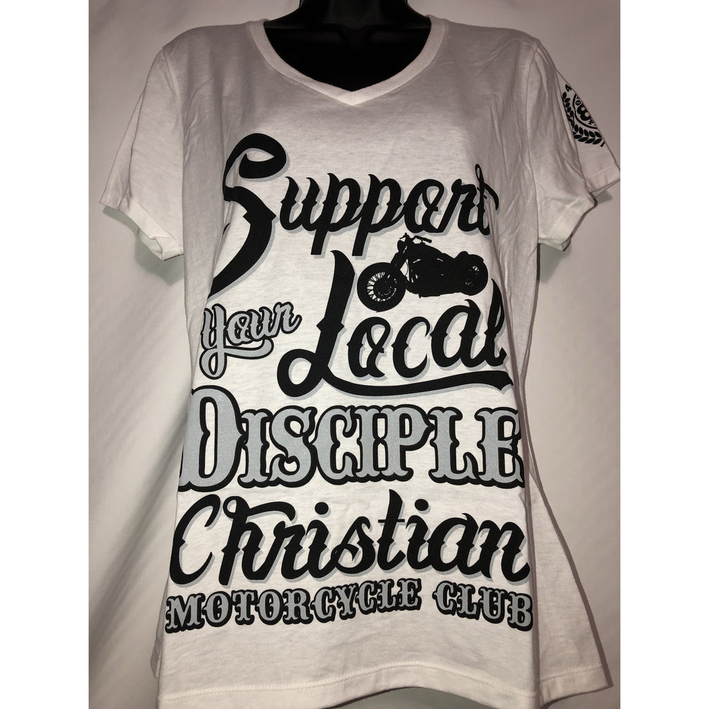 "Ladies White ""Support Your Local Disciple"" T-shirt"