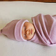 Swaddle Blanket with Knotted Beanie Hat