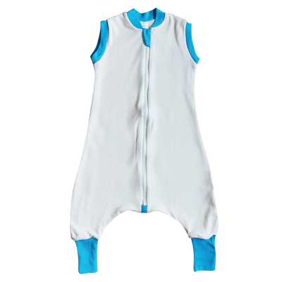 SLEEP SACK WITH OPEN LEGS IVORY & TURQUOISE