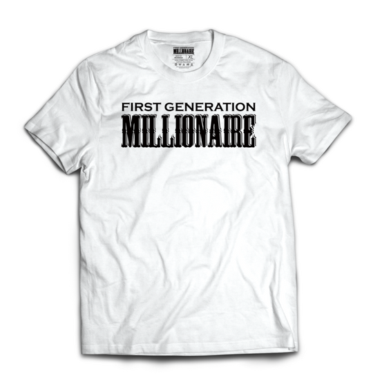 First Generation Millionaire Tee (Black Logo)-T-Shirt-First Generation Millionaire