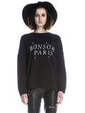 Black 'Bonsoir Paris' Print Sweater