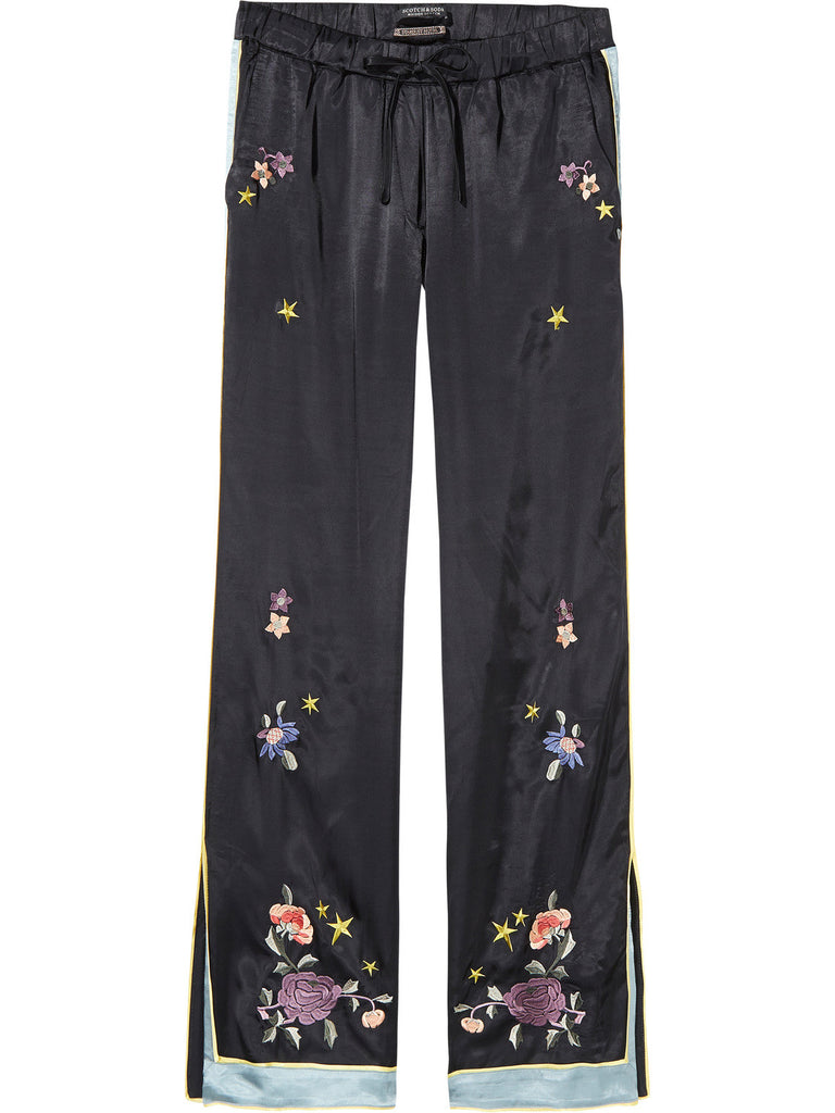 Embroidered Chinoiserie Trousers Wide Leg Fit