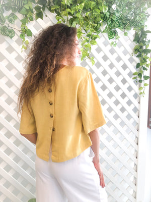 yellow linen top back