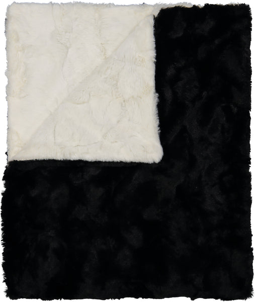 Peluche Black and Ivory Blanket