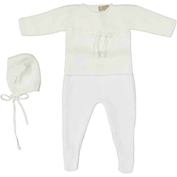 Carmina White 2pc Knit with Bonnet