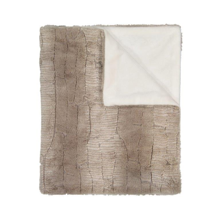 Peluche Stone and Ivory Blanket