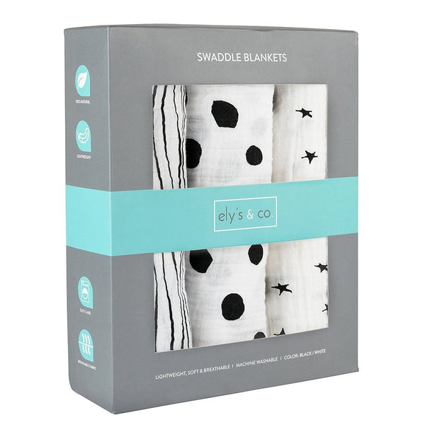 Ely's and Co 3pk Black/White Abstract Swaddles