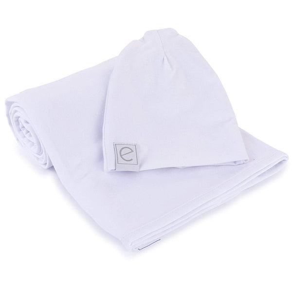 Ely's and Co White Swaddle and Beanie Set
