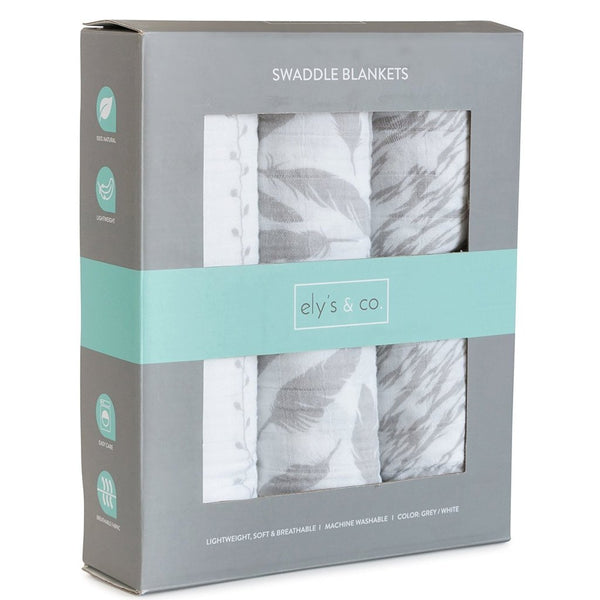 Ely's and Co 3pk Classic Grey Swaddles