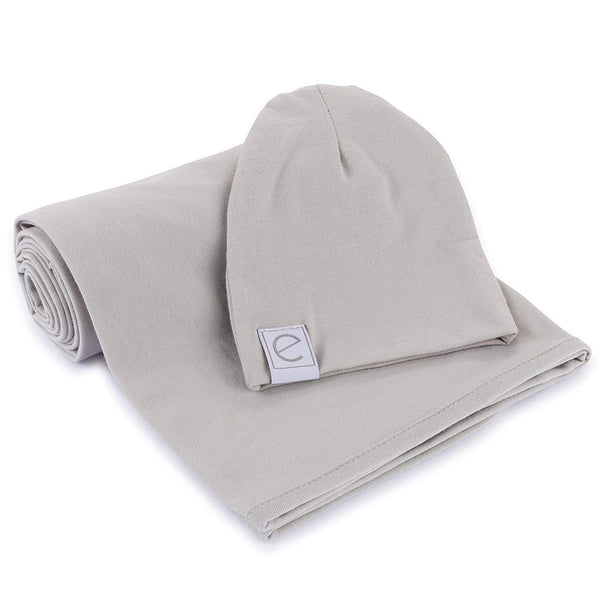 Ely's and Co Grey Swaddle and Beanie Set
