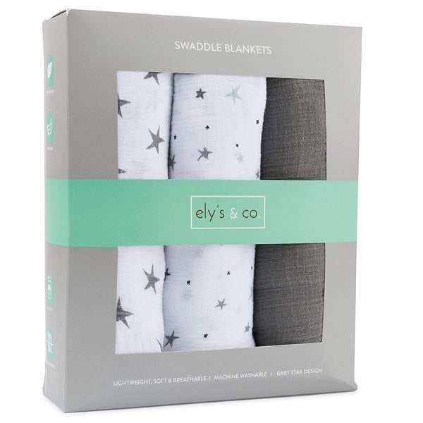 Ely's and Co 3pk Grey Star Swaddles