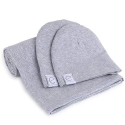 Ely's and Co Heather Grey Swaddle and Beanie Set