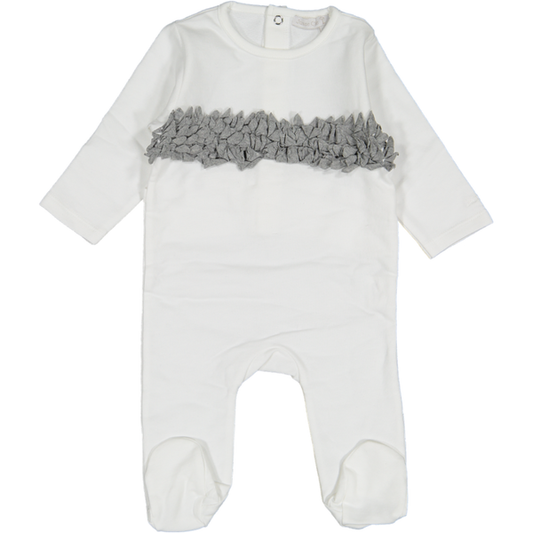 Juste cle White/Grey Crinkle Across Footie