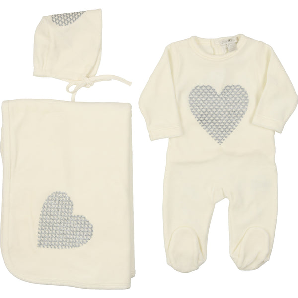 Chant de Joie Ivory Velour Heart Layette Set