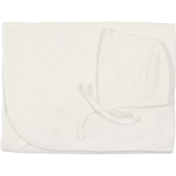 Mio Cotton White Knit Blanket and Bonnet
