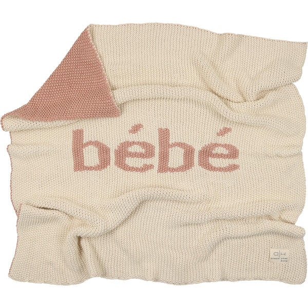 Domani Home Natural/Pink Bebe Knit Blanket