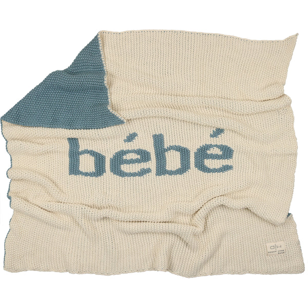 Domani Home Natural/Blue Bebe Knit Blanket
