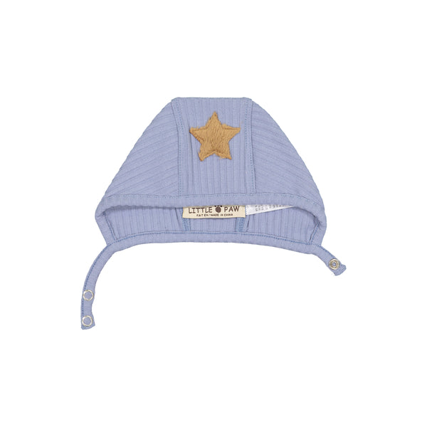 Little Paws Dusty Blue Rib Star Bonnet