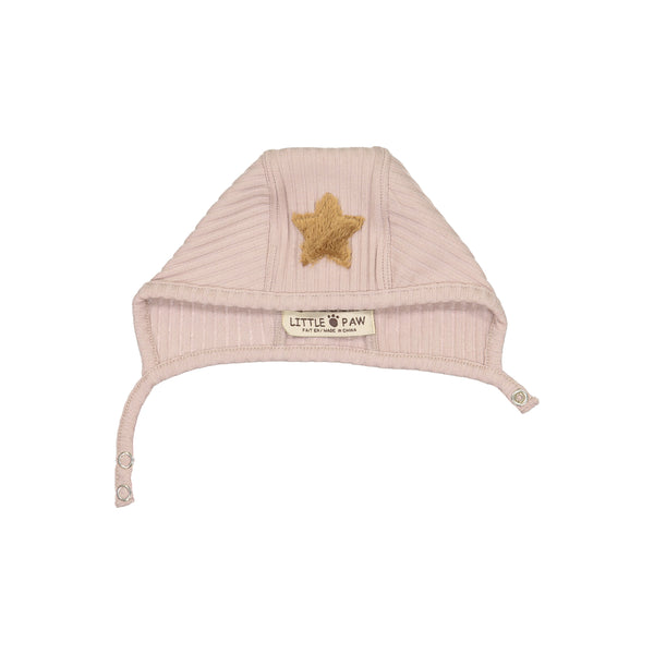 Little Paw Dusty Pink Rib Star Bonnet