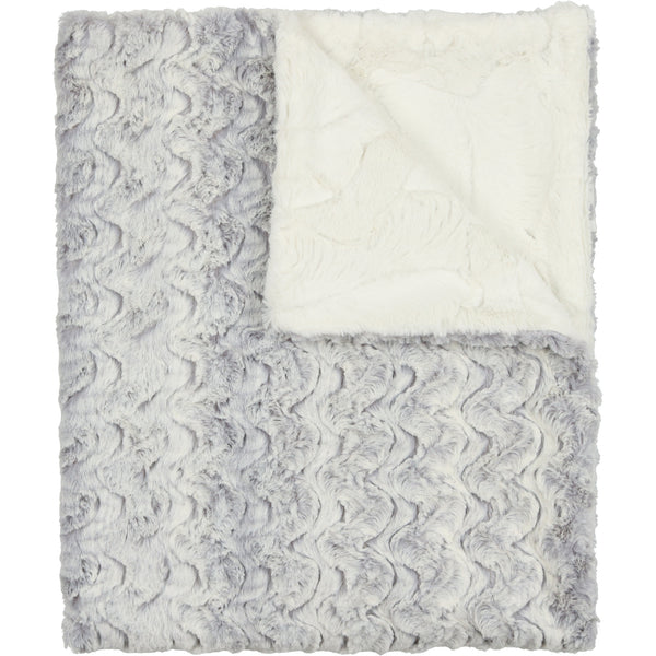Peluche Pearl Grey and Natural Fur Blanket