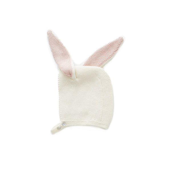 Oeuf White Bunny Knit Bonnet