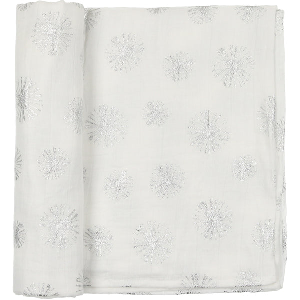 Peluche White and Silver Muslin Swaddle Blanket