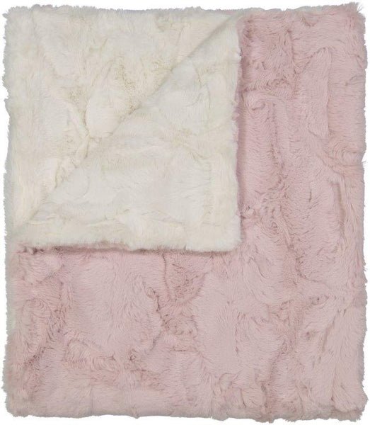Peluche Ivory and Rose Blanket