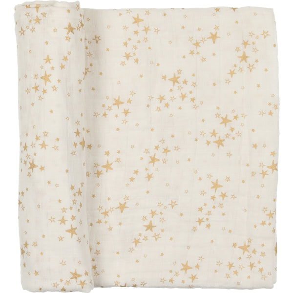 Peluche White and Gold Muslin Swaddle Blanket